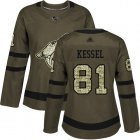 Cheap Adidas Coyotes #81 Phil Kessel Green Salute to Service Women's Stitched NHL Jersey