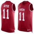 Cheap Nike 49ers #11 Brandon Aiyuk Red Team Color Men's Stitched NFL Limited Tank Top Jersey