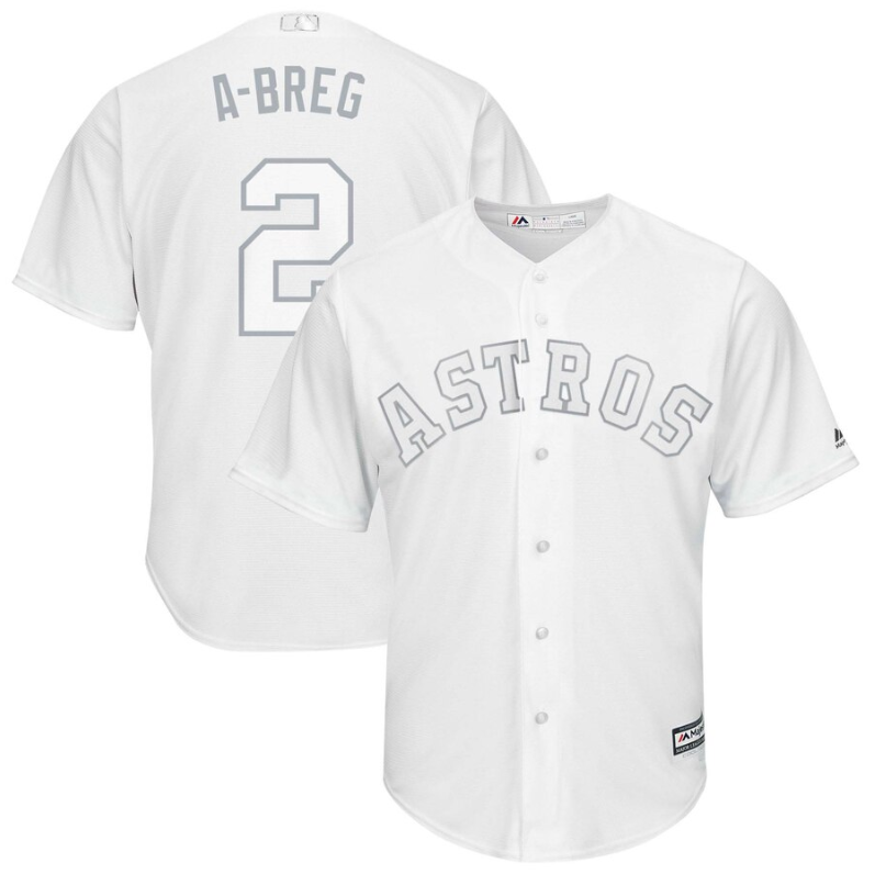 "Cheap Astros #2 Alex Bregman White ""A-Breg"" Players Weekend Cool Base Stitched MLB Jersey"