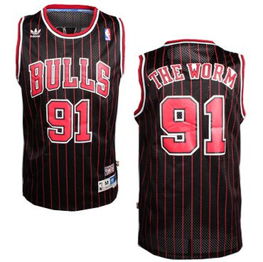 Cheap Chicago Bulls #91 The Worm Nickname Black Pinstripe Swingman Throwback Jersey